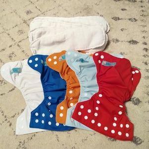 Five Alva Baby Newborn Cloth Diapers